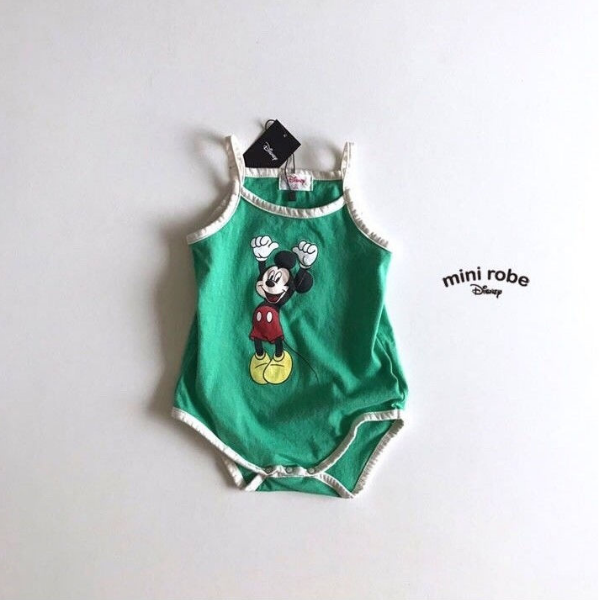 mickey mouse cotton bodysuit in green for babies