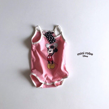 mickey mouse cotton bodysuit in pink for babies