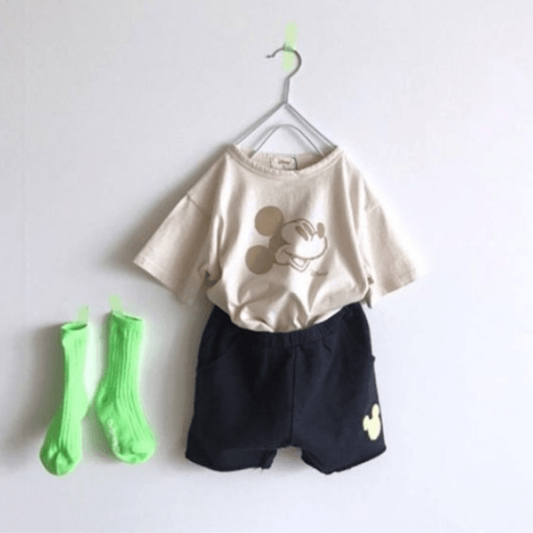 mickey mouse cotton shorts in navy