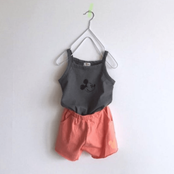 mickey mouse cotton shorts in orange