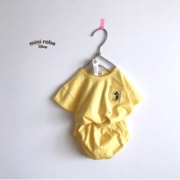 mickey  mouse cotton tee and bloomer set in yellow for babies