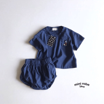 mickey mouse cotton tee + bloomer set in navy