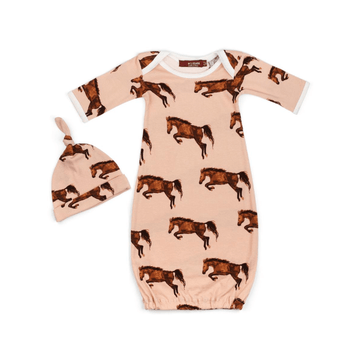 organic newborn gown + hat set, horse