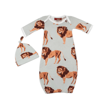 organic newborn gown + hat set, lion