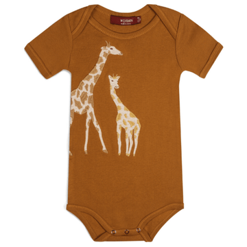milkbarn applique one piece orange giraffe