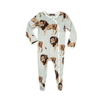 milkbarn bamboo footed romper in lion for baby