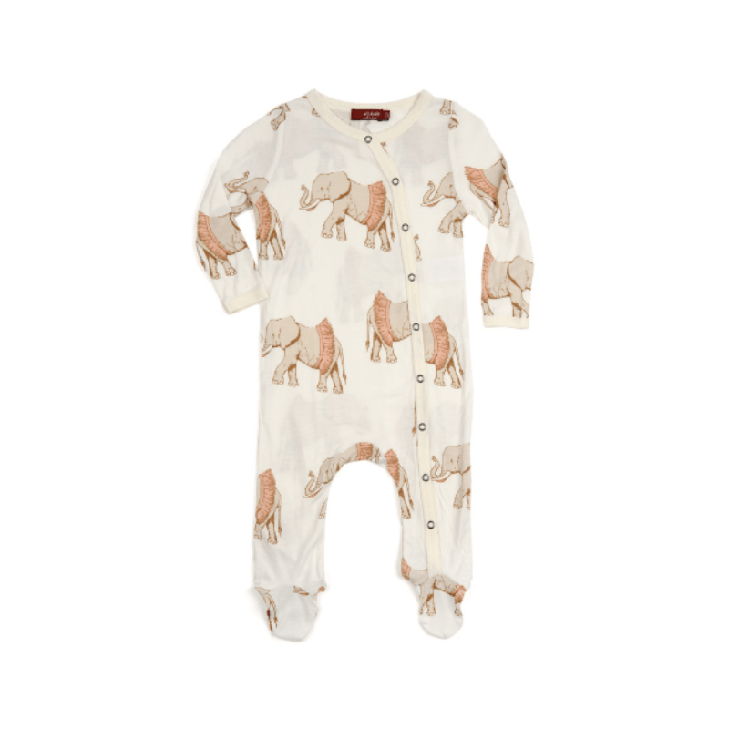 milkbarn bamboo footed romper in tutu elephant