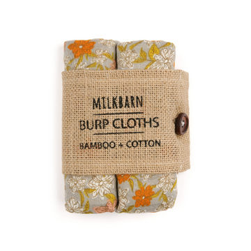 milkbarn bamboo muslin bundle of burpies in grey floral