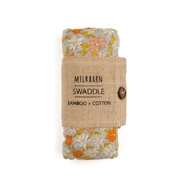 milkbarn bamboo muslin swaddle blanket in grey floral soft