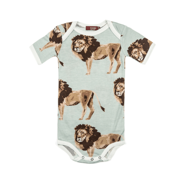 bamboo short-sleeve one-piece in lion (pre-order now!)