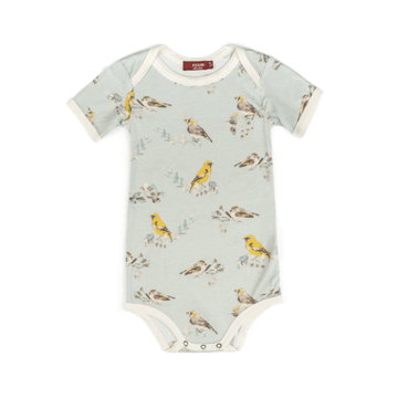 milkbarn bamboo short sleeve one-piece in blue birds for baby girl
