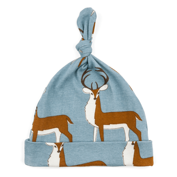 knotted hat, blue buck