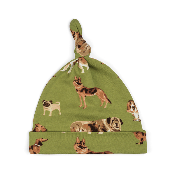 milkbarn knotted hat in green dog for baby boys and girls