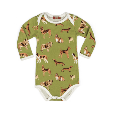 milkbarn long-sleeve one piece in green dogs for baby boys and girls