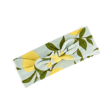 milkbarn organic cotton headband in lemon fox for baby and toddler