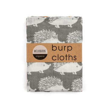 milkbarn organic cotton set of burp cloths in grey hedgehog
