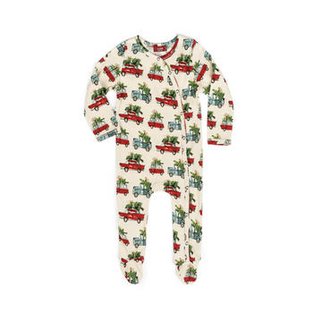 milkbarn organic cotton footed romper in christmas cars