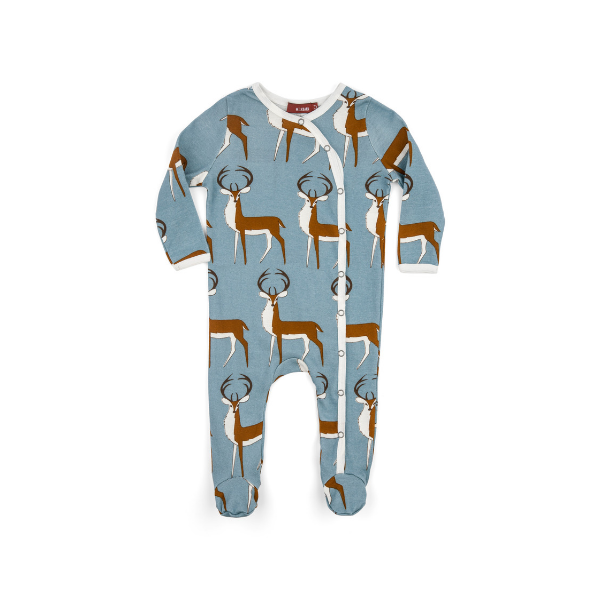organic footed romper in blue buck