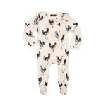 organic footed romper in chicken