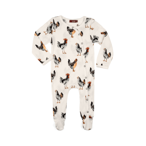 milkbarn organic footed romper in chicken
