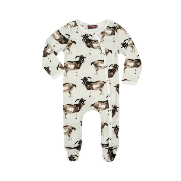 organic footed romper in goat
