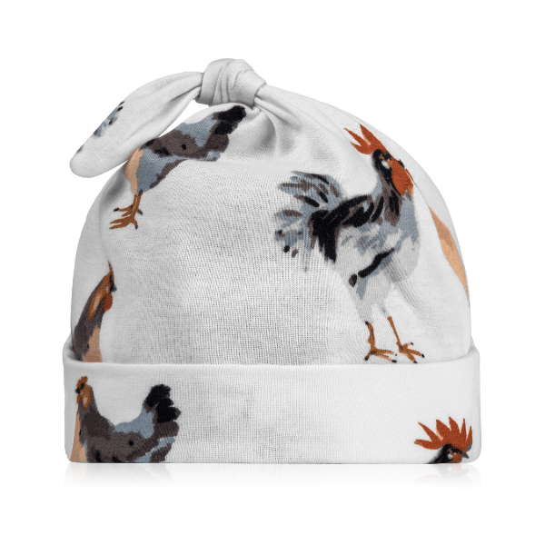 milkbarn organic knotted beanie in chicken for baby