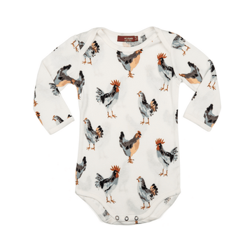 milkbarn organic long sleeve bodysuit in chicken