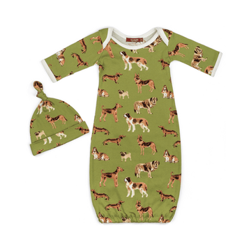 milkbarn organic newborn gown and hat set in green dogs for baby boys and girls