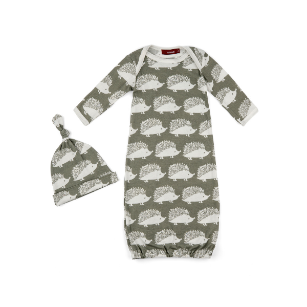 milkbarn organic newborn gown and hat set in grey hedgehog