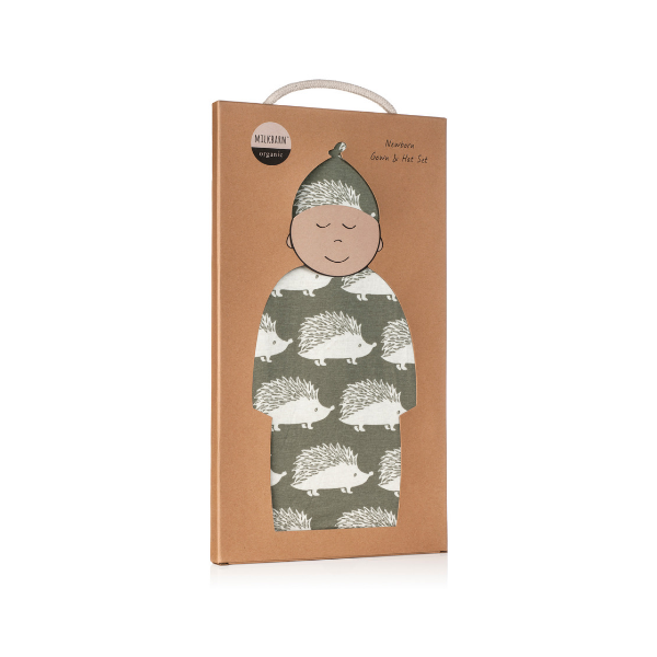 milkbarn organic newborn gown and hat set in grey hedgehog kraft box
