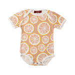 organic short-sleeve one-piece in grapefruit