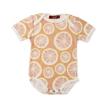 milkbarn organic short-sleeve one-piece in grapefruit