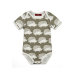organic short-sleeve one-piece in grey hedgehog