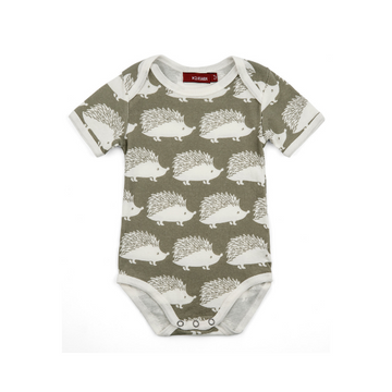 milkbarn organic short-sleeve one-piece in grey hedgehog