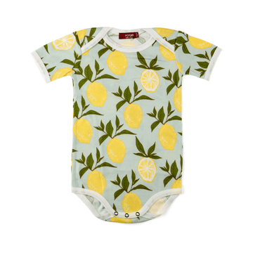 milkbarn organic short-sleeve one-piece in lemon