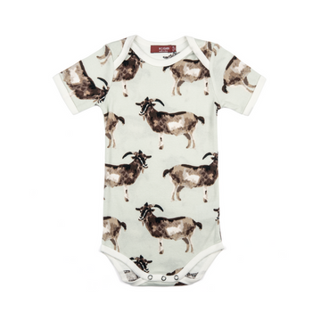 milkbarn organic short sleeve one-piece in goat