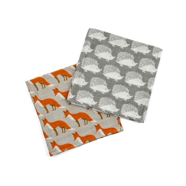 milkbarn organic soft cotton burp cloth set grey and orange