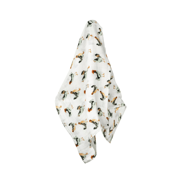 organic swaddle blanket in chicken