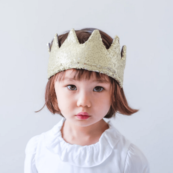 mimi and lula gold sequin crown with tie for girls and boys