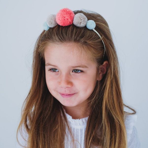 mimi & lula pepper pom pom statement headband soft pastel