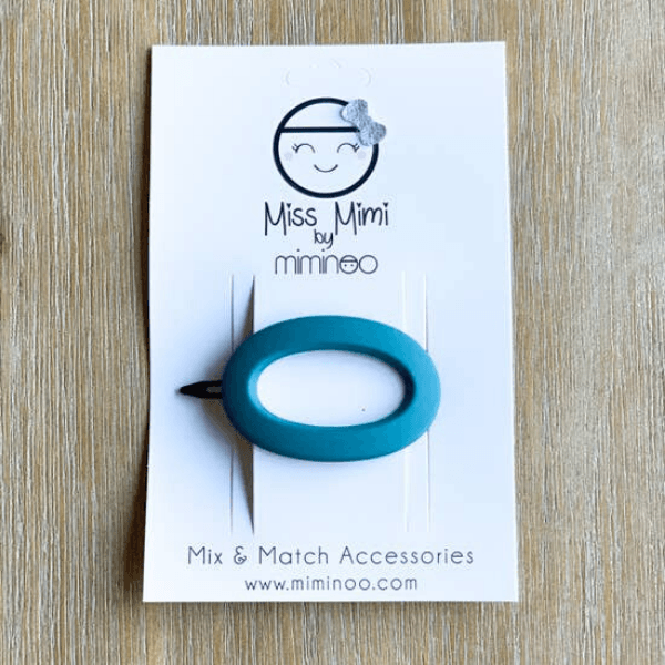 oval barrette, pacific blue