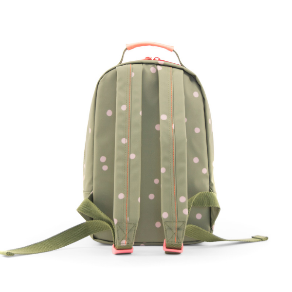 mini polka dot backpack in olive adjustable padded straps
