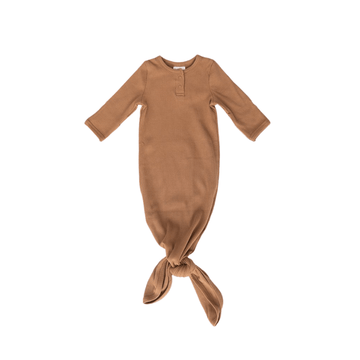 organic ribbed cotton knotted baby gown, mustard