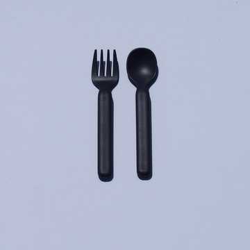 modern spoon + fork set in dark grey