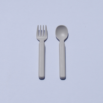 modern spoon + fork set in ivory