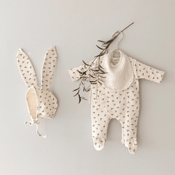 Cherry Romper + Bunny Bonnet Set, Cream