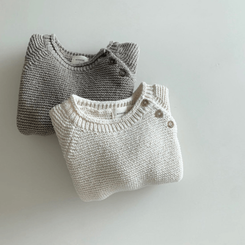 Cotton Knit Sweater, Cream