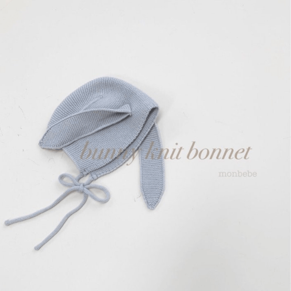 monbebe bunny knit bonnet in light grey