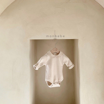 monbebe peter pan collar bodysuit in cream for baby girls