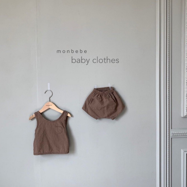 monbebe cotton tank and short set for baby girls